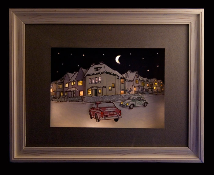 Unusual comic strip collection and illuminated frame